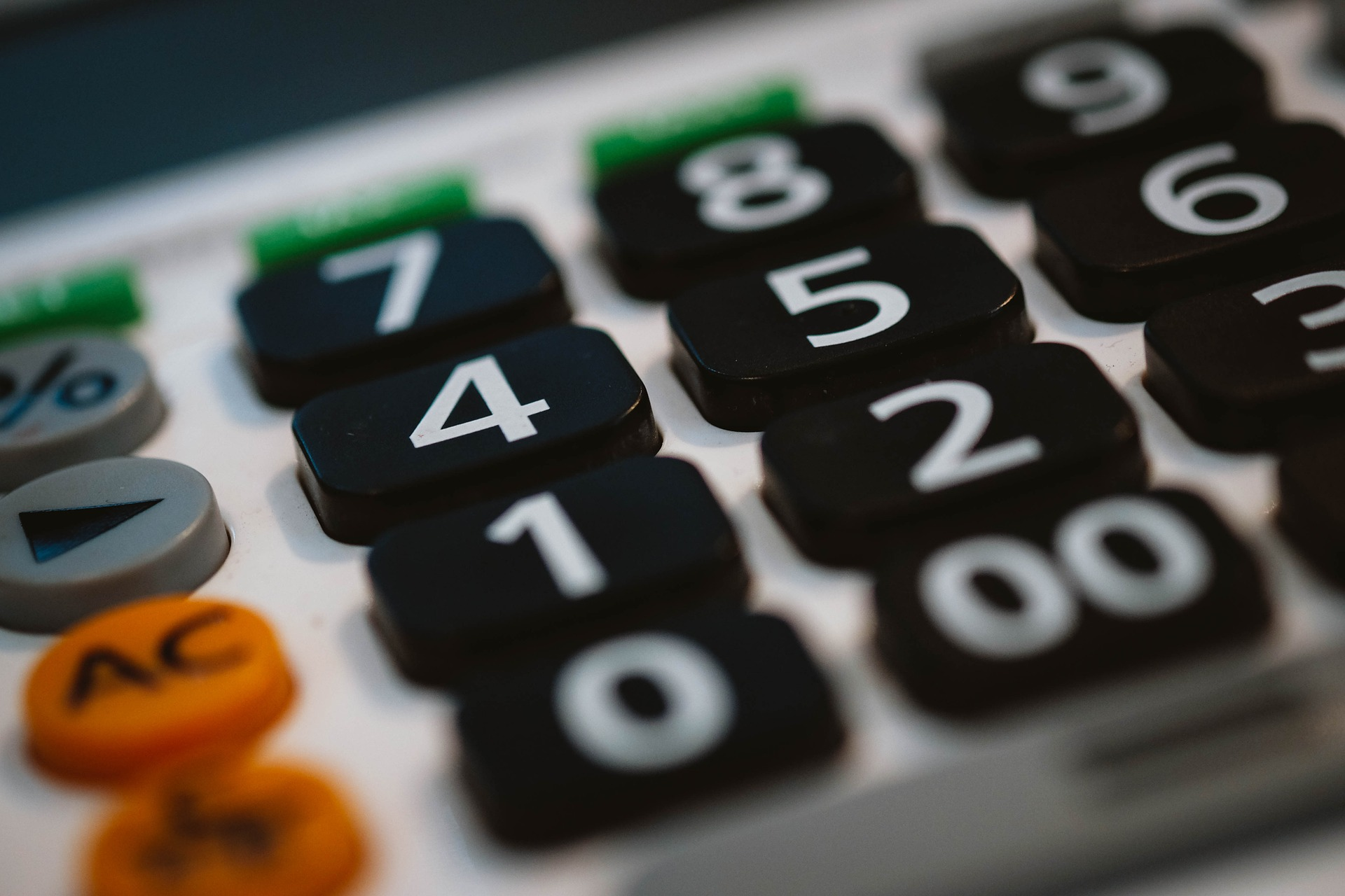 Close up view of a calculator