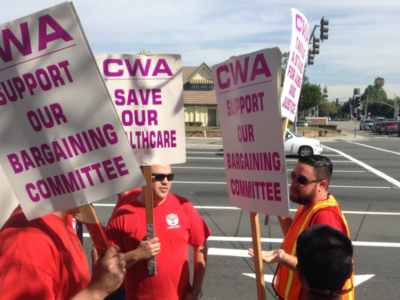 CWA District 9 demonstrates on Feb. 23