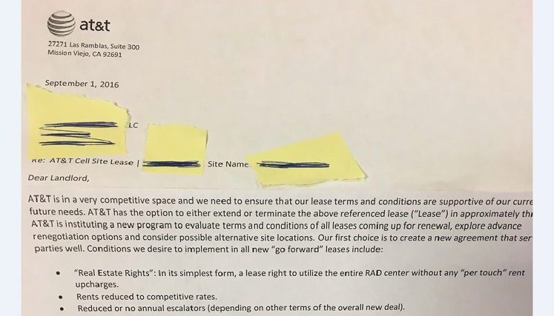 Early Lease Termination Letter >> Revealed: AT&T sending letters to tower owners asking for 'rents reduced to competitive rates ...