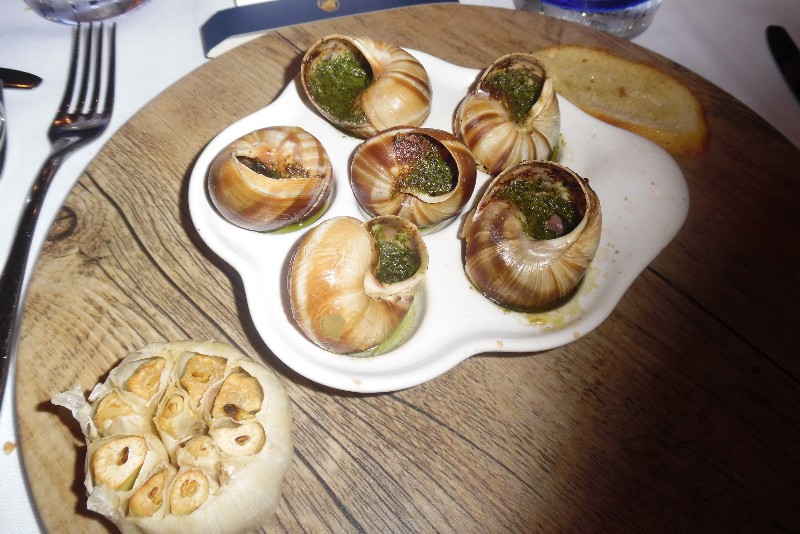 Escargot Sel de Mer Holland America Koningsdam Editorial Use Only Copyright Susan J. Young