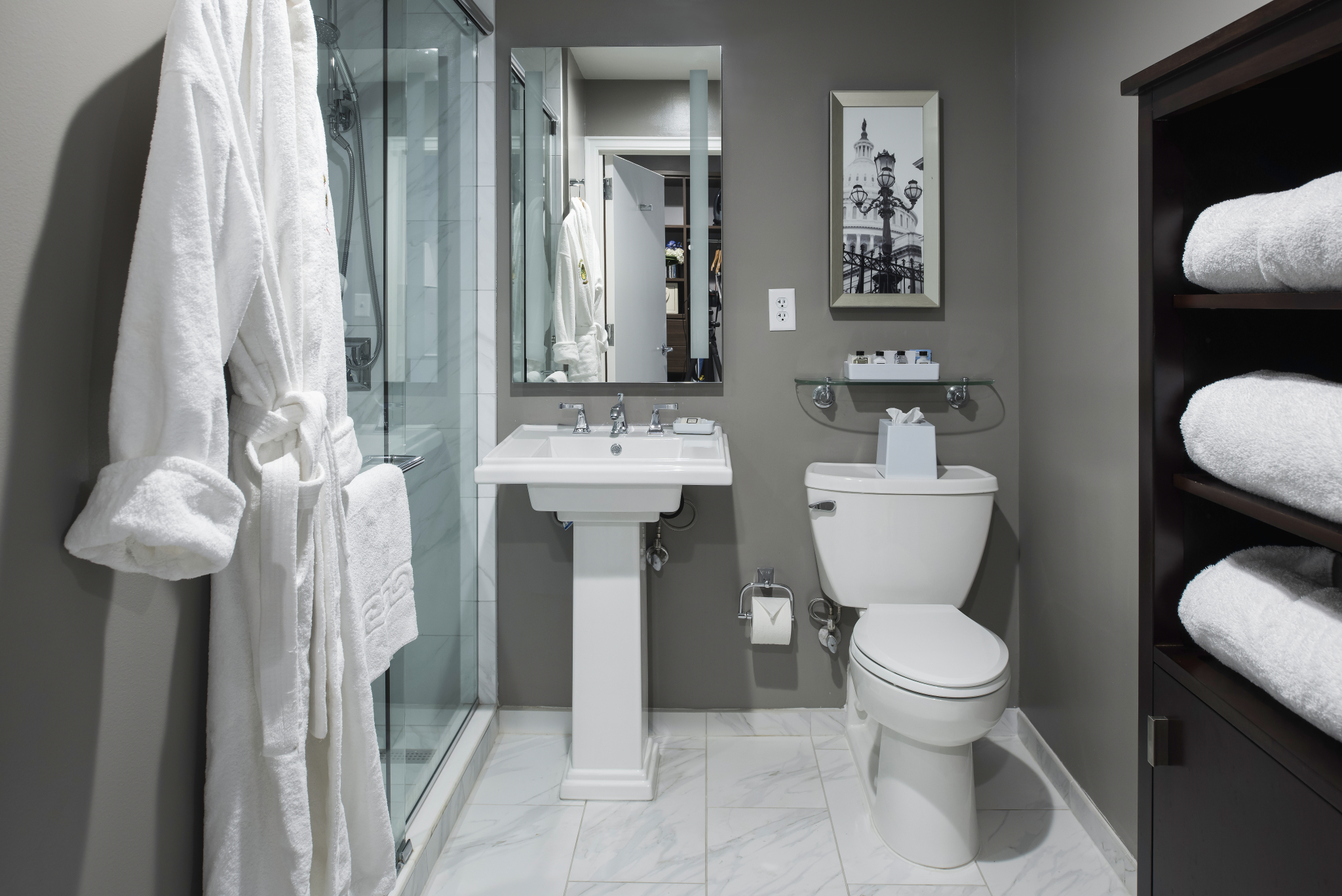 The Bathrooms At Phoenix Park Hotel Designed By Studio3877 Use Backlit Mirrors And Minimal Shelf Space