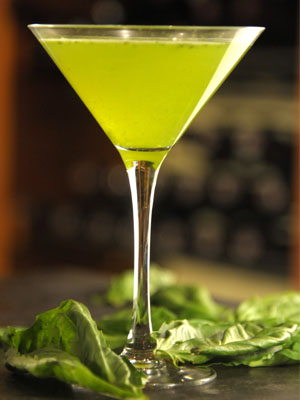 Bleu Bohème Basil Martini cocktail recipe - St. Patrick's Day cocktails