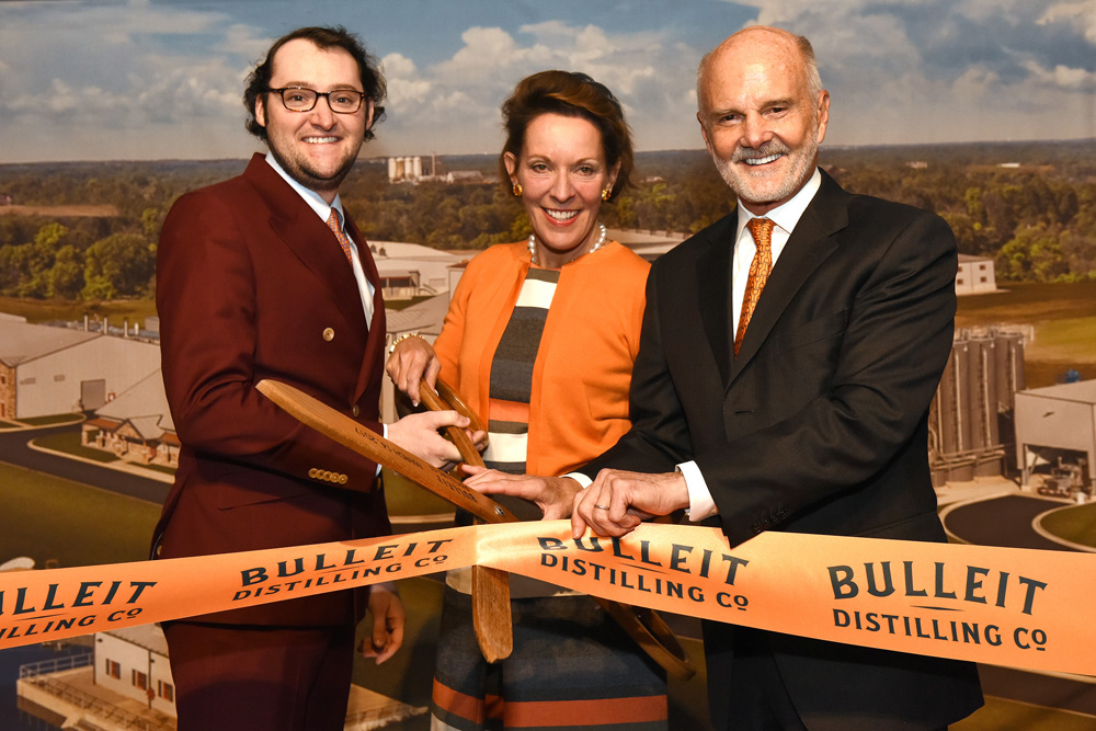 Tucker, Betsy and Tom Bulleit at Bulleit Distilling Co. ribbon cutting