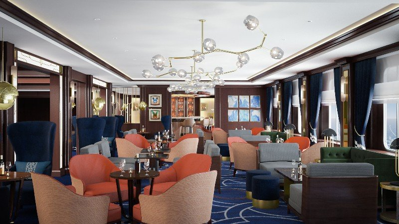 Chart Room daytime Queen Victoria rendering Cunard Line
