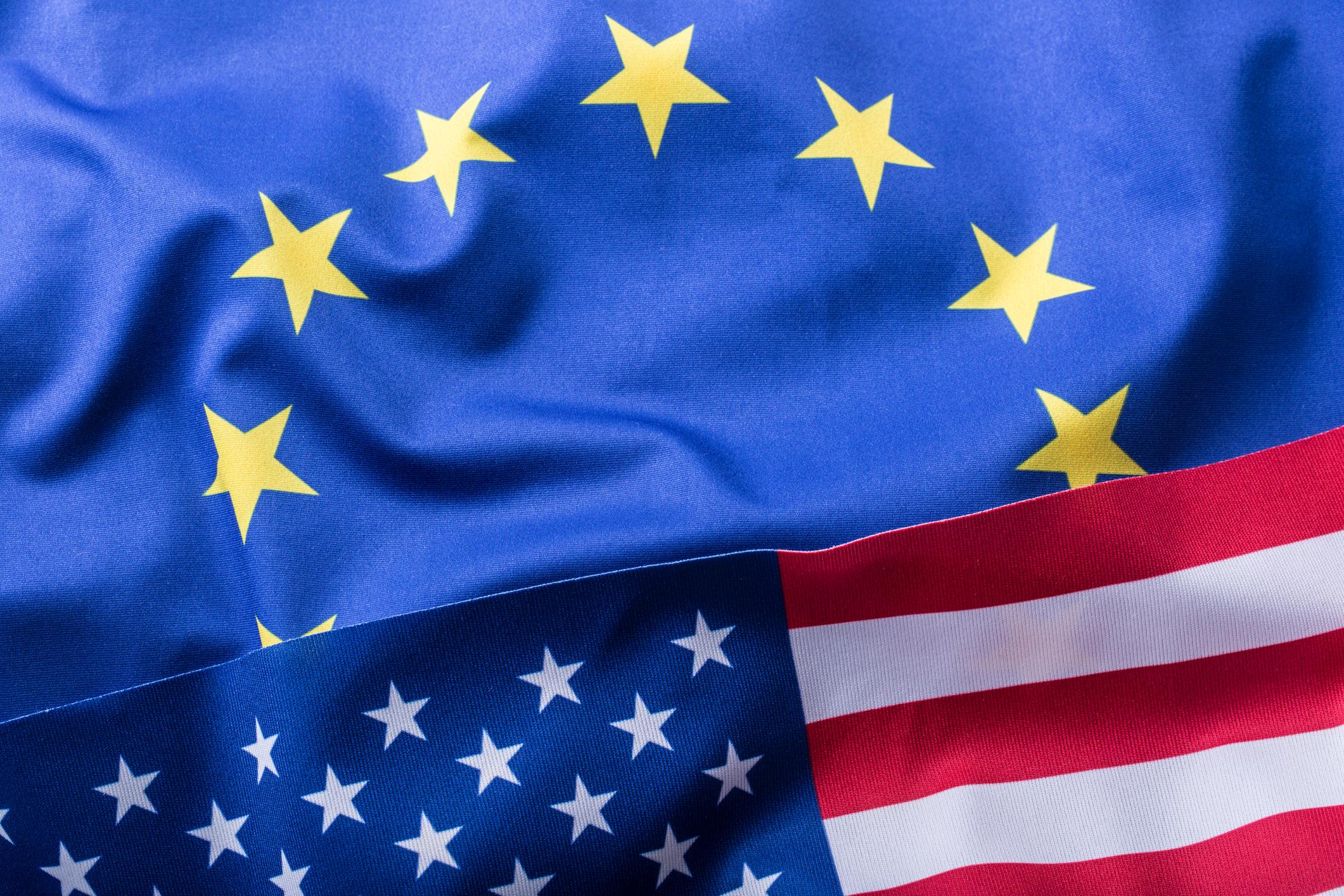 European Union USA Flags