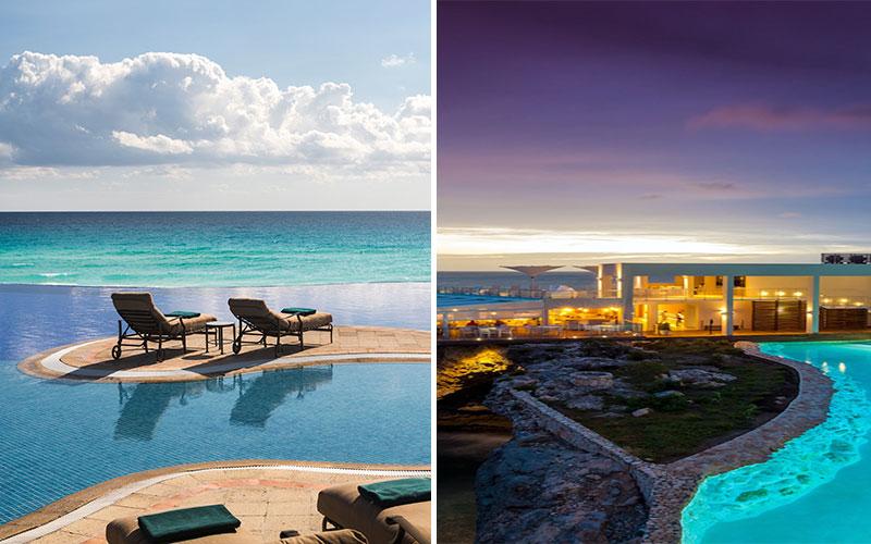 Hotel pools at JW Marriott Cancun and Sonesta Ocean Point Resort