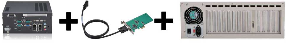 Expansion chassis with up to 13 IO Cards can be attached to a single PCIe[x1] expansion cable.