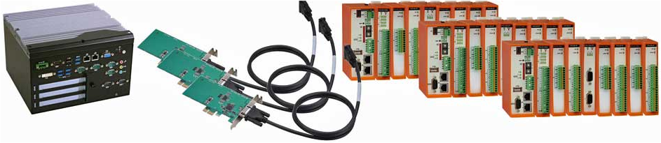 Up to 32 IO modules can be connected to a single PCIe[x1] expansion cable.