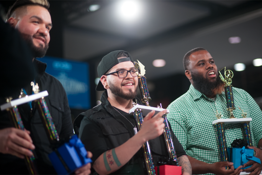 Andis Fabulous Fades Winners: Jesse Gill from LIONHEAD Barber Parlour in Bartlett, IL; Horacio de Loera, from salonJAS in Oak Park, IL; Jamal Sherman from Groomed in Toledo, Ohio