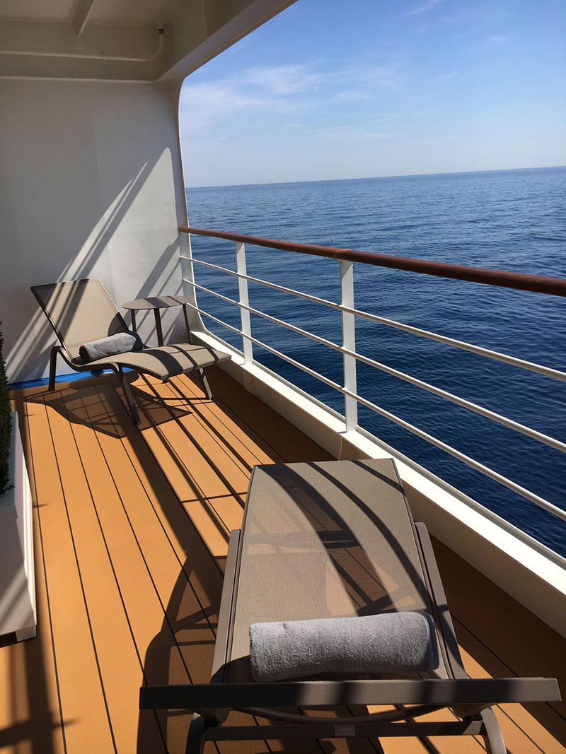 A view of the balcony of the ship's Balsorano Suite