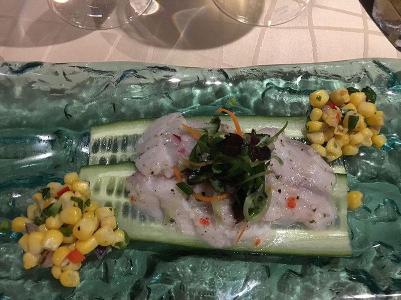 Sea bass ceviche at Silversea's Blue Note jazz supper club