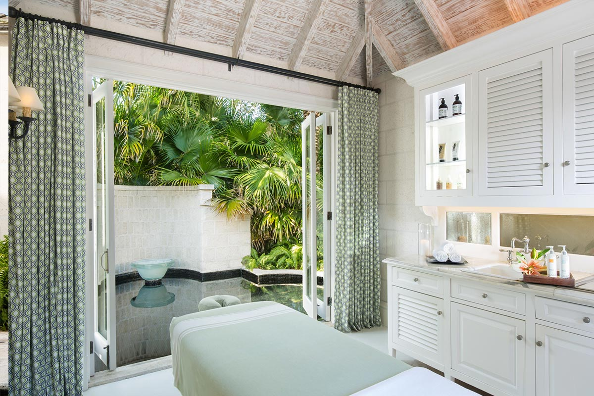 Each treatment room opens to allow the natural light and sea breezes in.