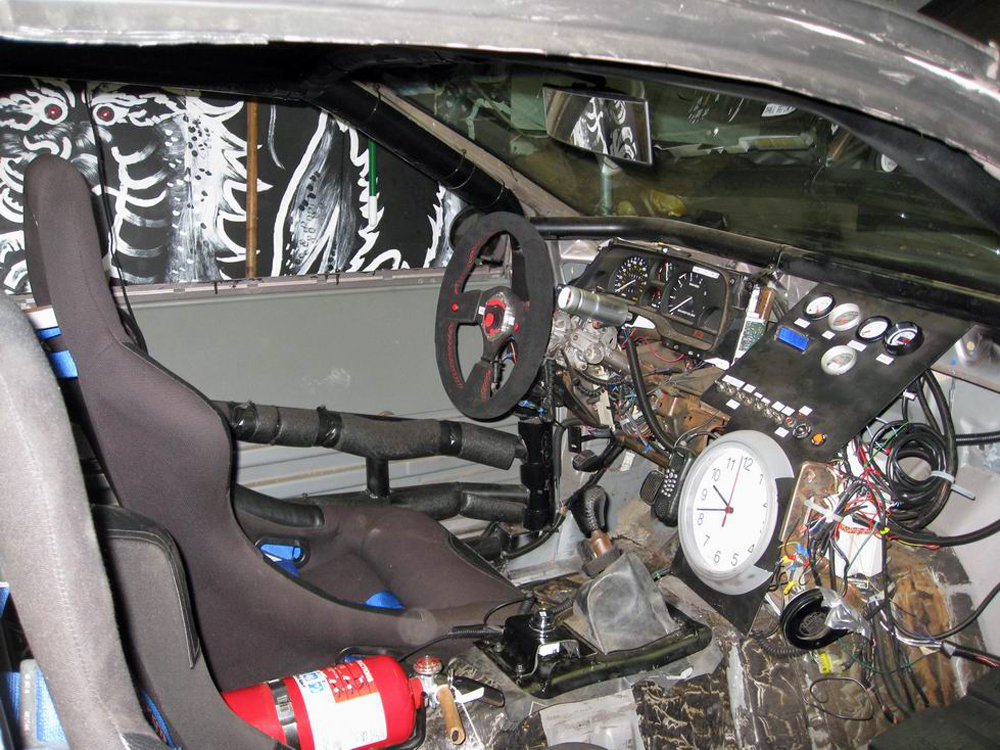 Installing some new features on my 1995 Ford Thunderbird-cum-racecar.