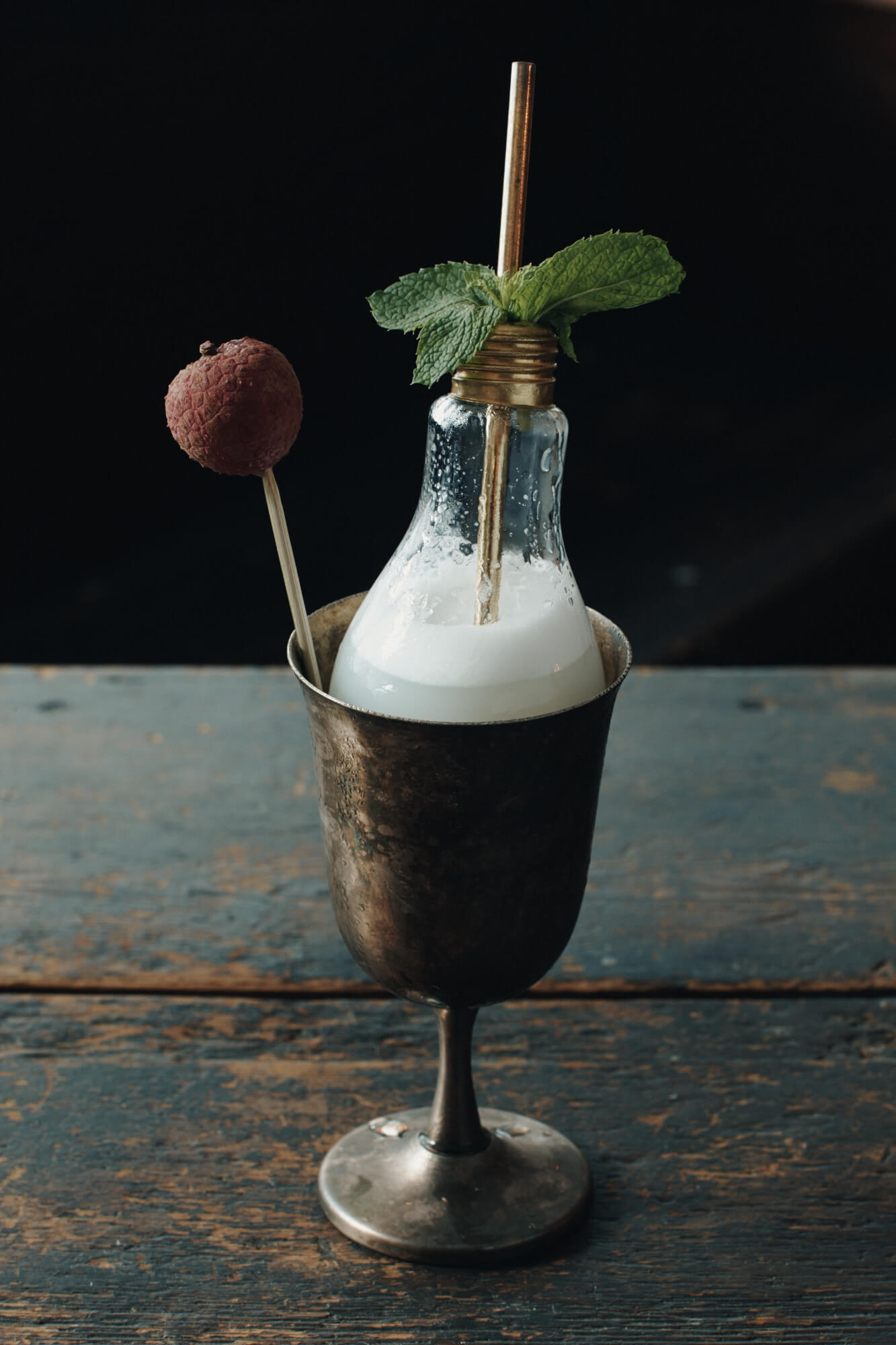 Lychee cocktail from ROKC served in a light bulb