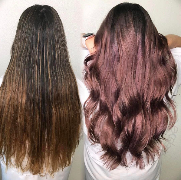 "Hair by @lynn_excellenthairsalon ""After pulling hightlights, rootage: Dark Shadow and ultra violet 6vl. Mids: Demi 7RG, 9RG with ultra violet. Ends: 9RG with Pink Glow."""