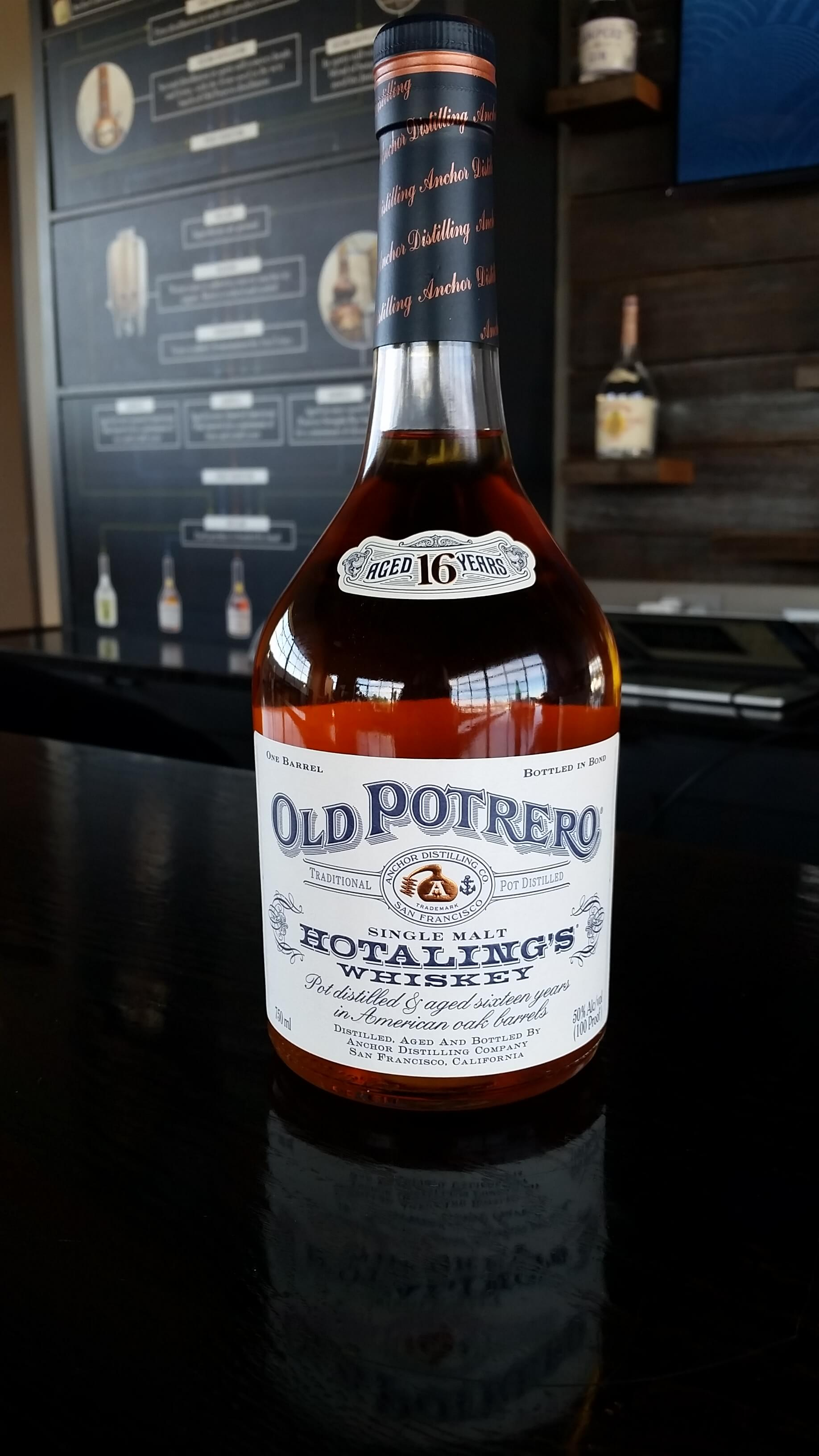Old Potrero Single Malt Hotaling's Whiskey bottle - Anchor Distilling Company