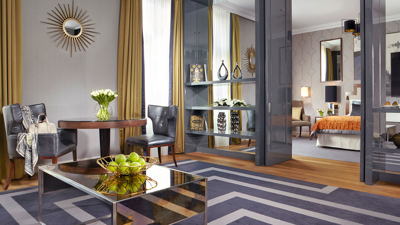Casegoods create a residential feel in the suites