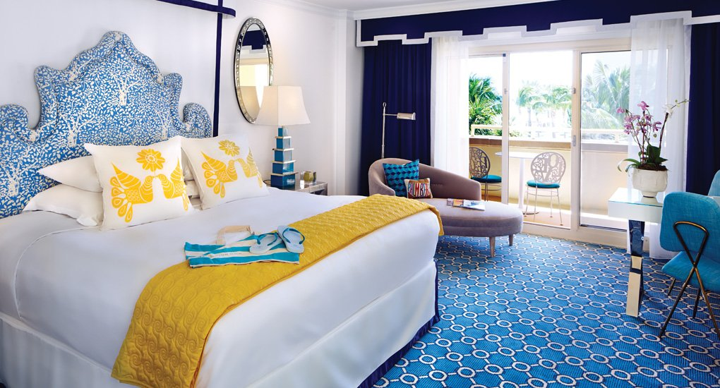 Guestrooms at the Eau Palm Beach are meant to be light and airy.