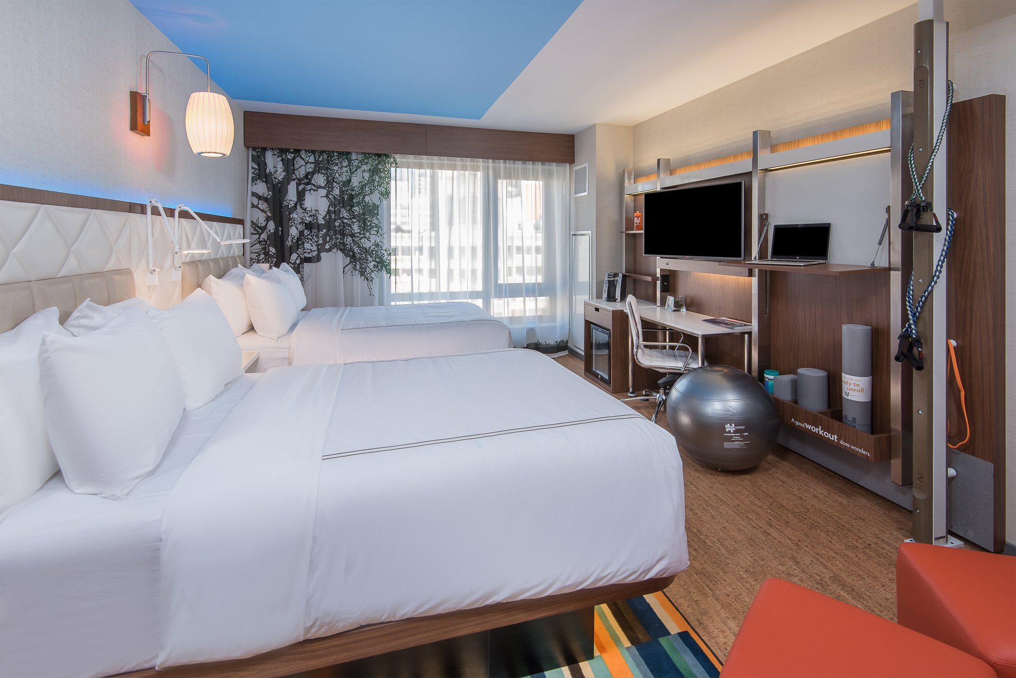 IHG's Even Hotels have included workout equipment in guestrooms since the brand launched.