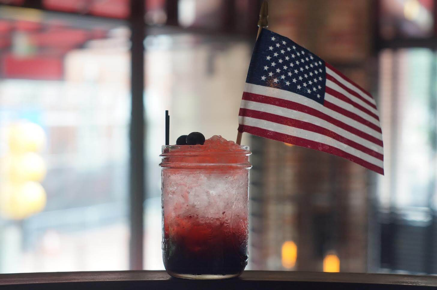 Independence Jawn cocktail at Red Owl Tavern - Red, White and Blue cocktail recipes for 4th of July