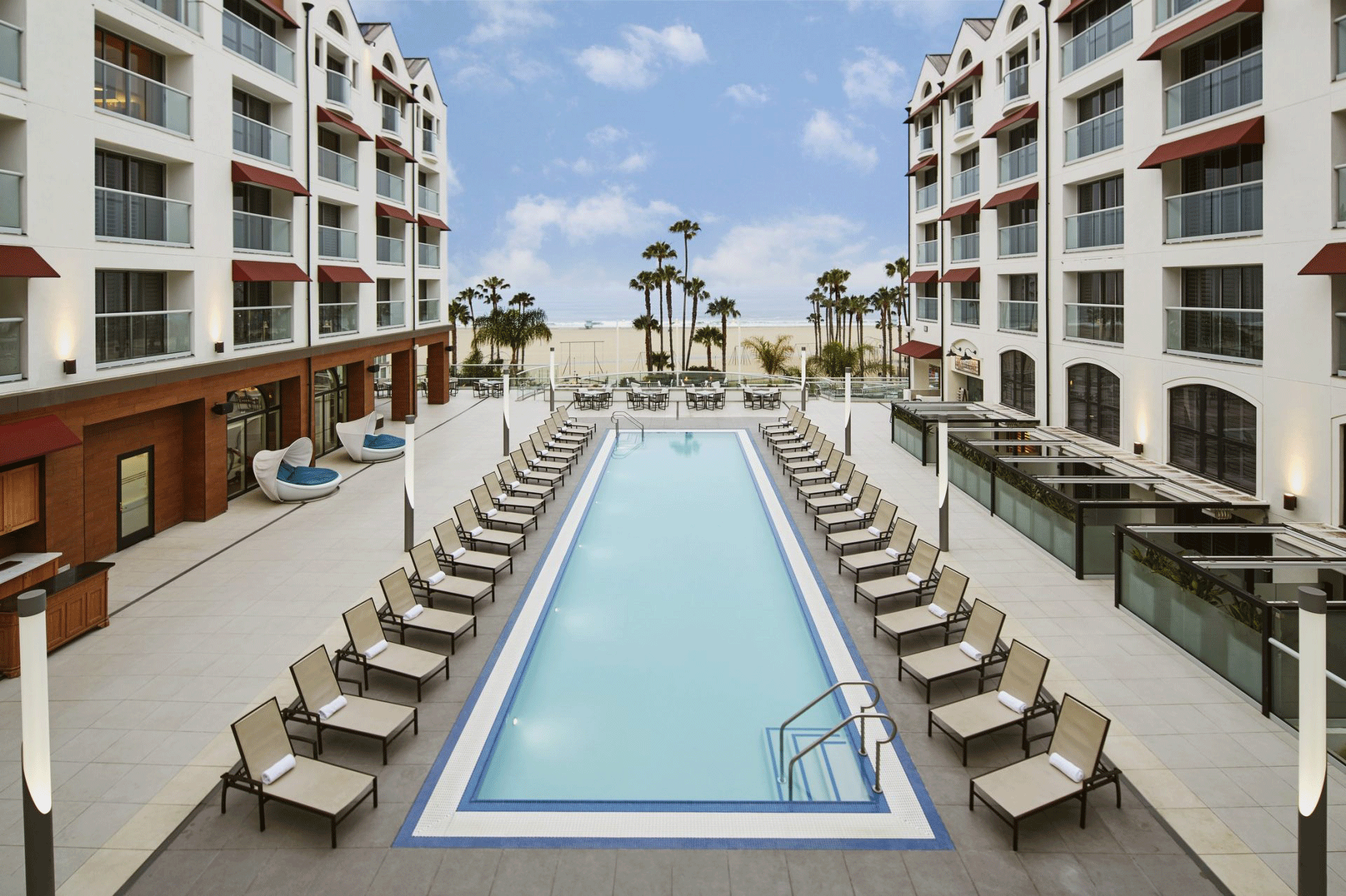 The pool at the Loews Santa Monica.