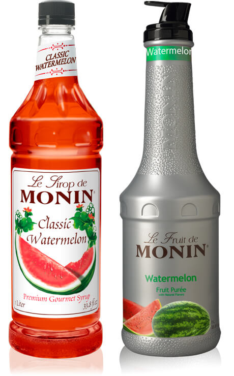 Monin Classic Watermelon Syrup and Monin Watermelon Fruit Puree gourmet flavorings - What's Shakin' week of June 5