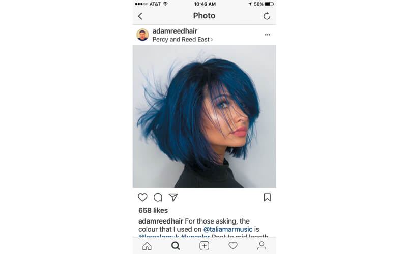 L'Oréal Professionnel Ambassador Adam Reed (@adamreedhair) gives singer Talia Mar blue hair with black roots and blows up Instagram.