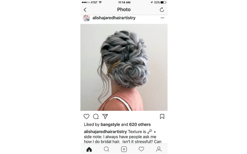 """""""My advice for anyone anxious about bridal styles...it's just hair. If it doesn't look good one way, un-pin and try something new.""""—Alisha Jared @alishajaredhairartistry"""