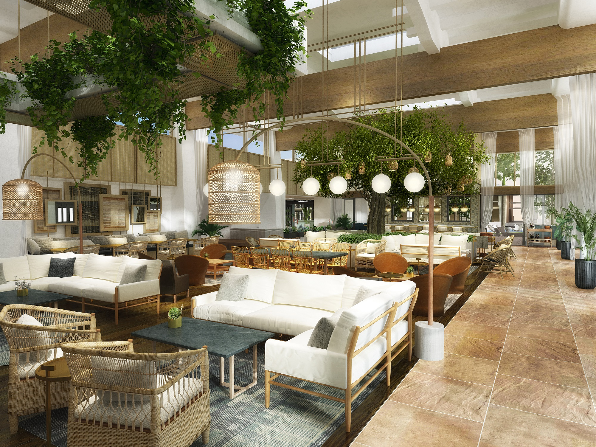 The first phase of the renovation includes all public spaces, including the resort's main lobby.