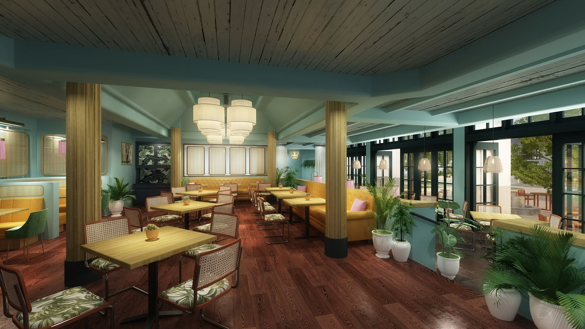 The signature lobby bar and restaurant will be completely renovated and reimagined, while maintaining an indoor-outdoor layout.