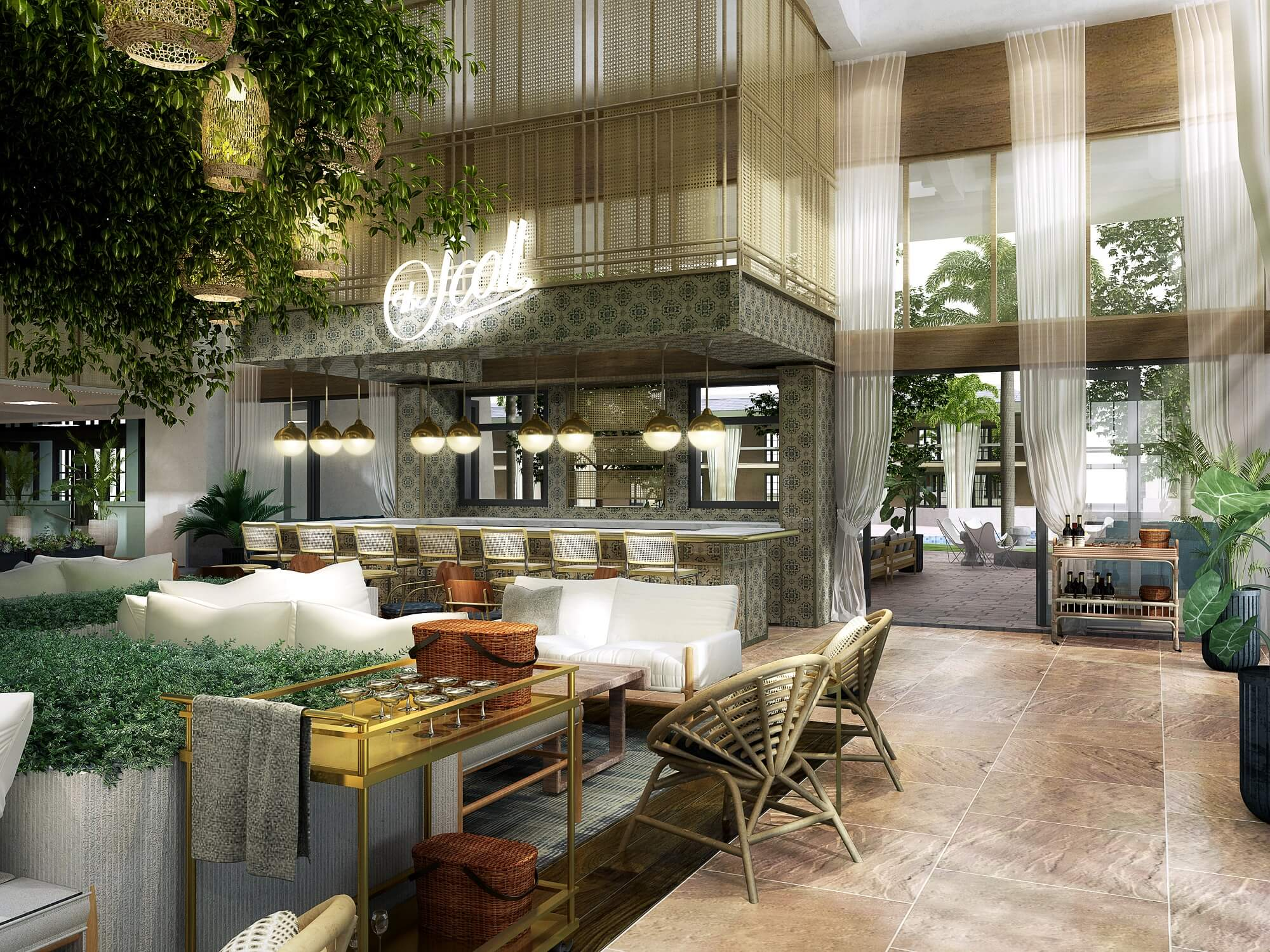 The lobby will evoke a traditional front porch in Havana, with blue-glazed olive jars and indoor landscaping.