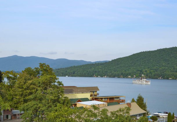 The rooftop deck of the Courtyard Lake George emphasizes views of upstate New York.