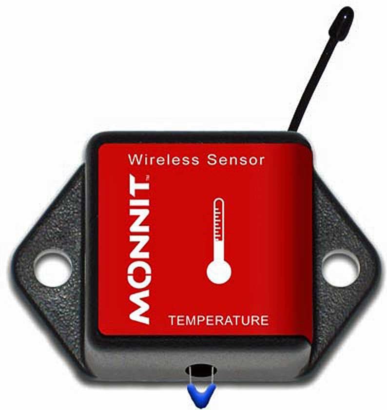 A wireless temperature sensor.