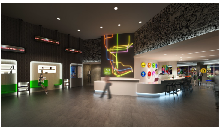 The lobby at the new ibis Styles New York LaGuardia Airport.