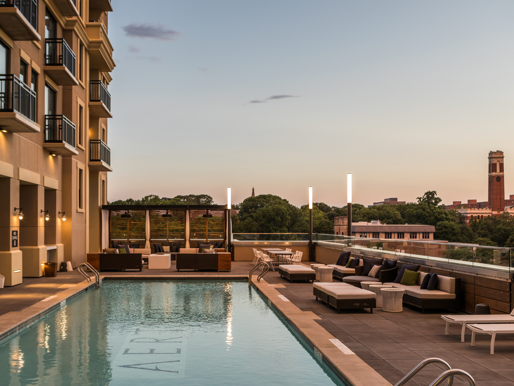 The Kimpton Aertson rooftop pool has glass partitions to maximize views and minimize wind.