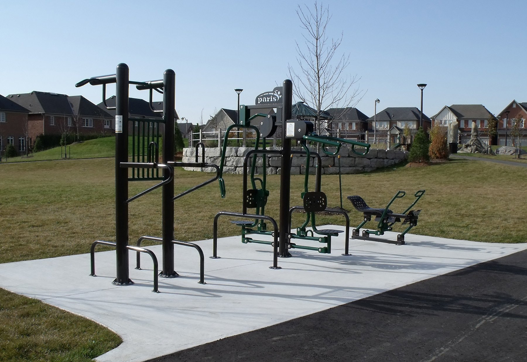 An outdoor fitness center can be part of a trail for different types of workouts.