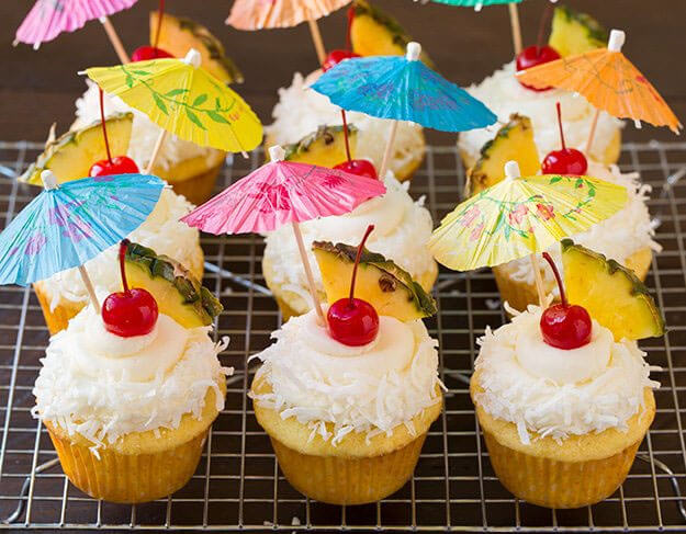 Piña Colada Cupcakes by Cooking Classy - 2017 National Piña Colada Day recipes