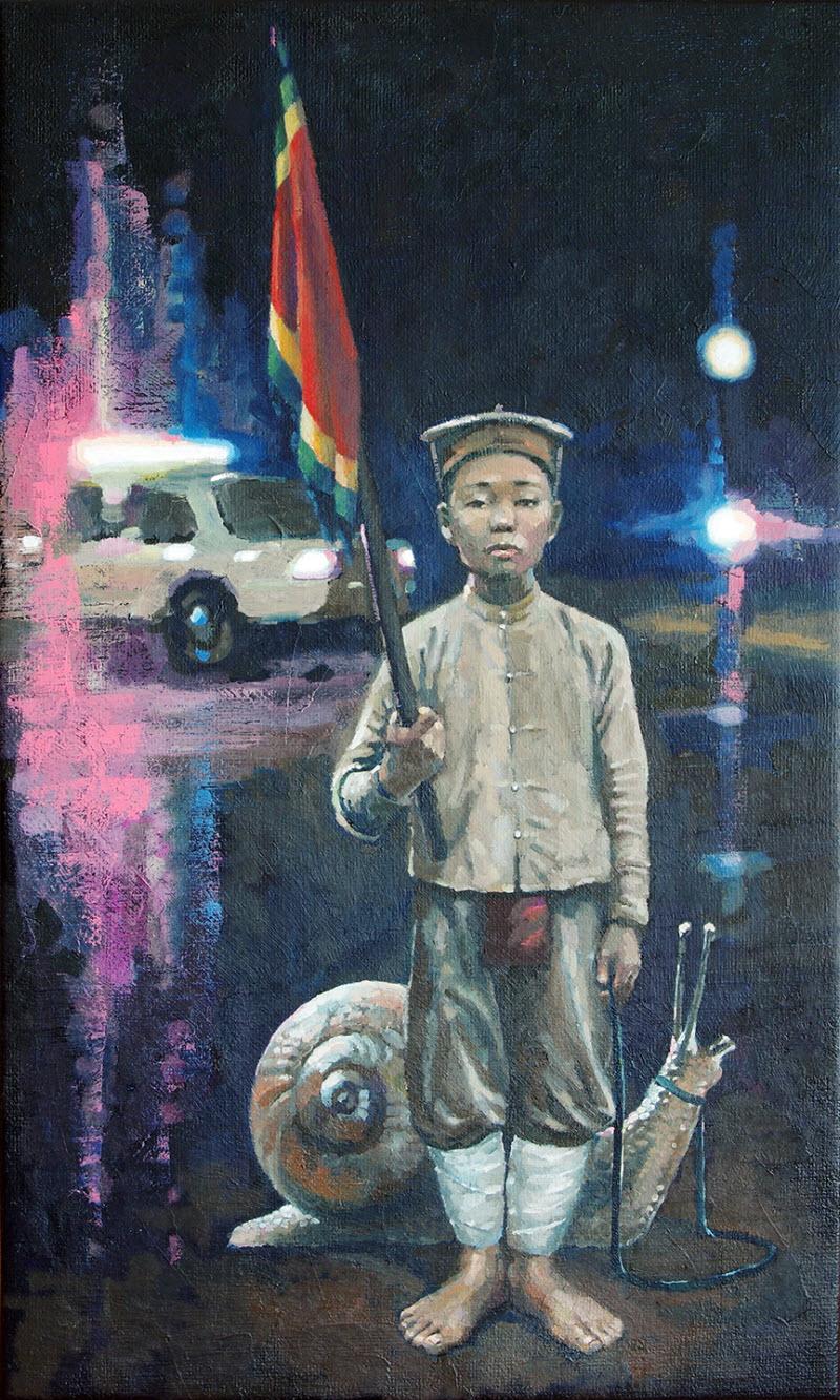 Le Petit Tirailleur, a painting by Nguyen Manh Hung. Image Credit: Salon Saigon