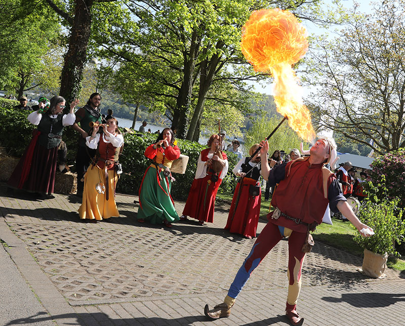 AmaKristina passengers stepped off the ship's gangway to be greeted by fire-eaters, dancers and jugglers in medieval dress who created a festive atmosphere.