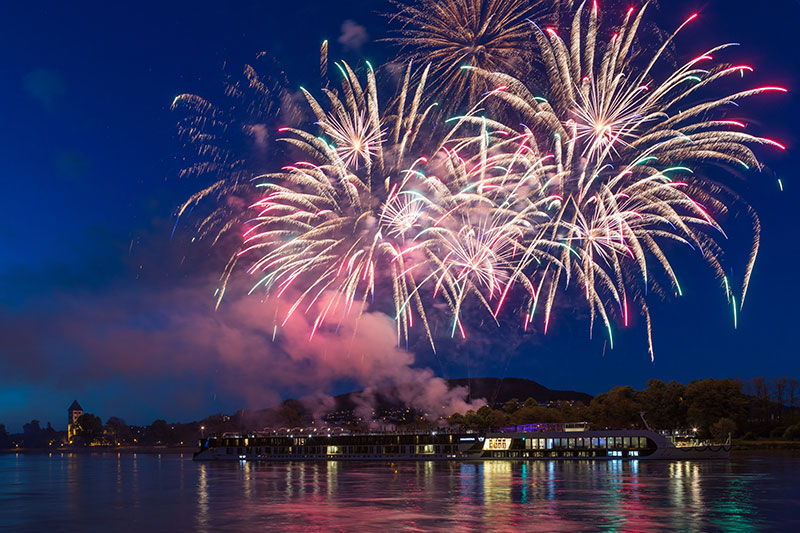 A fireworks show set to the dramatic musical backdrop of Beethoven's 5th Symphony closed out the AmaKristina christening festivities along the Rhine river.