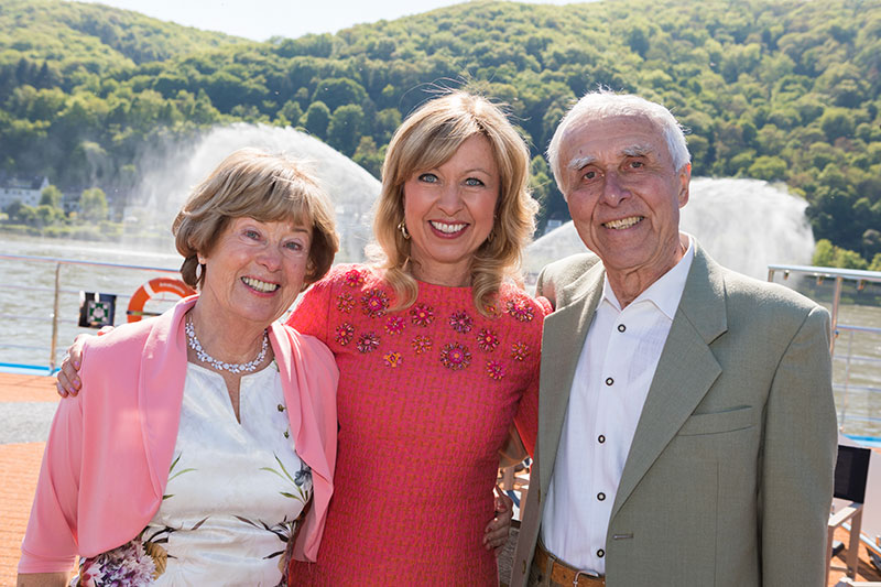 AmaWaterways Executive Vice President, Co-Owner, and new Godmother Kristin Karst is flanked by her parents, Hans and Ute Karst, who traveled from Dresden, Germany to sail on the AmaKristina and celebrate their daughter's namesake ship.
