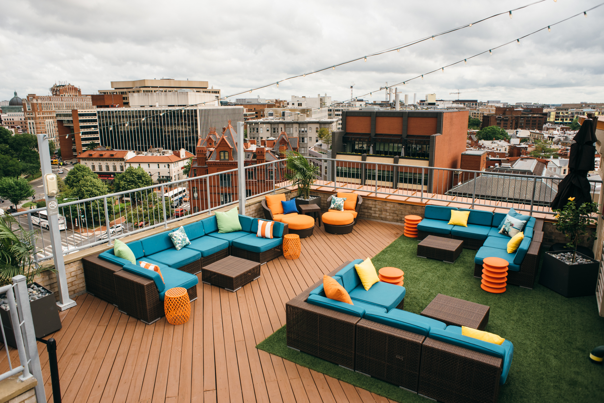 The Embassy Row rooftop has a pool and lounge area overlooking Washington, D.C.