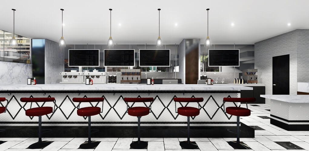 The Statler Dallas, Curio Collection by Hilton diner counter