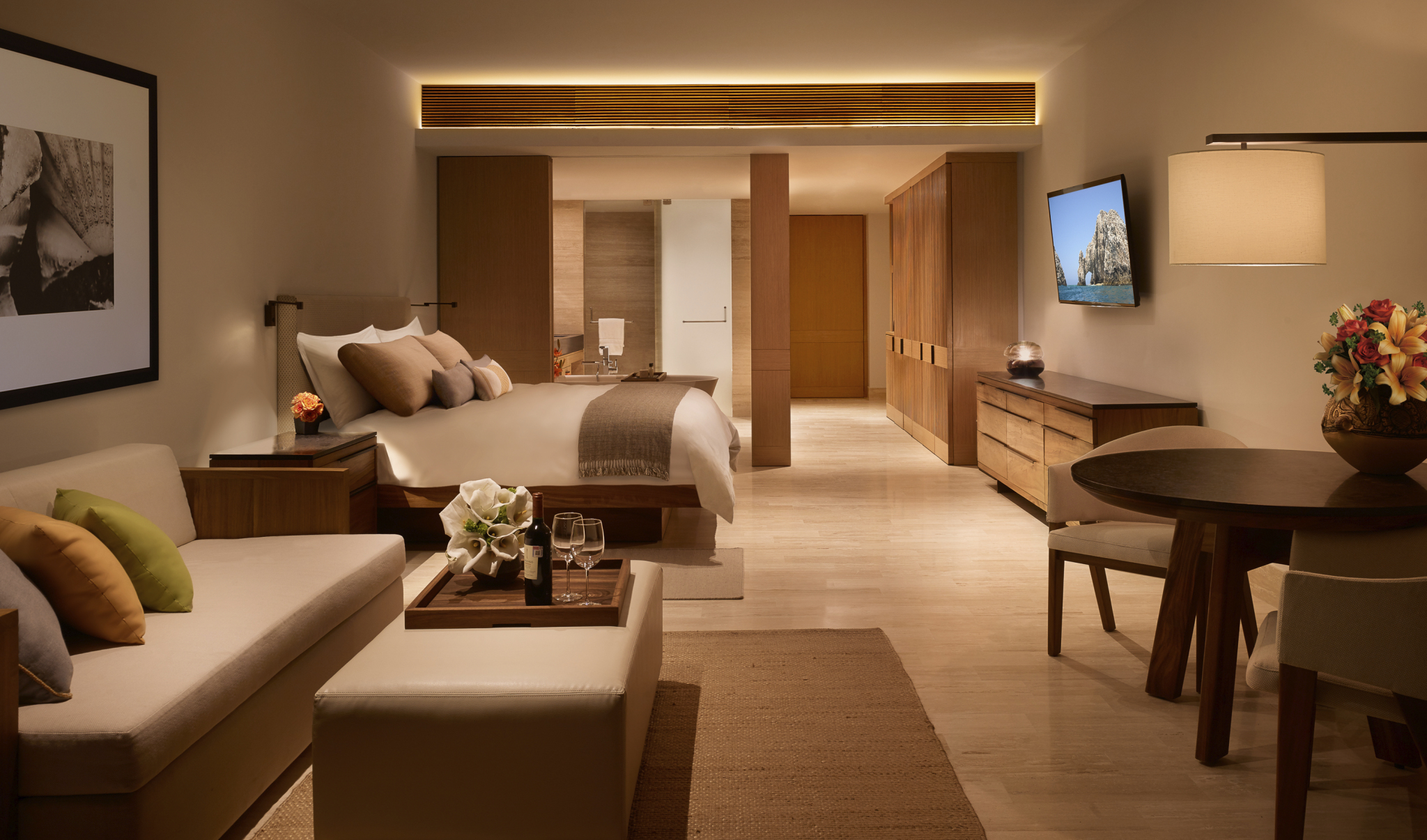 Wider view of a Montage Los Cabos suite.