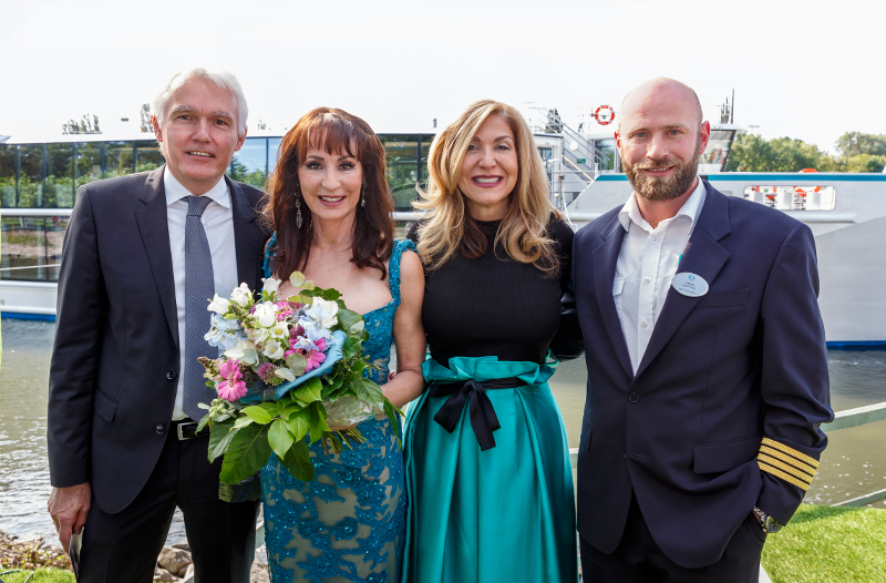 (From Left) Josef Lumetsberger, General Manager Operations, Crystal River Cruises; Crystal Bach Godmother Anna-Maria Kaufmann; Crystal CEO and President Edie Rodriguez; Captain Thijs van der Lee, Master of Crystal Bach at the Christening of Crystal Bach.