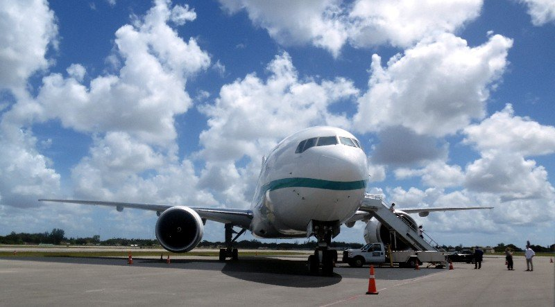 Crystal Skye, a Boeing 77-200LR aircraft, is shown at Opalocka Executive Airport in South Florida