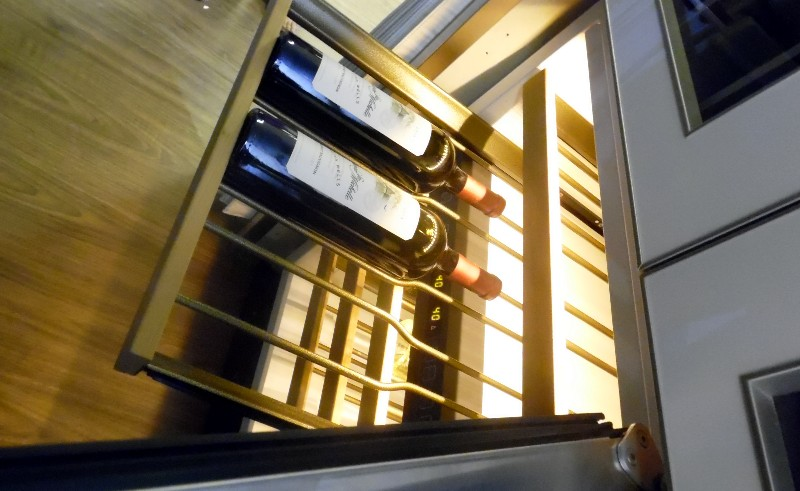 A dedicated wine storage cabinet that holds up to 300 bottles and the plane also can storage wine bottles elsewhere onboard.