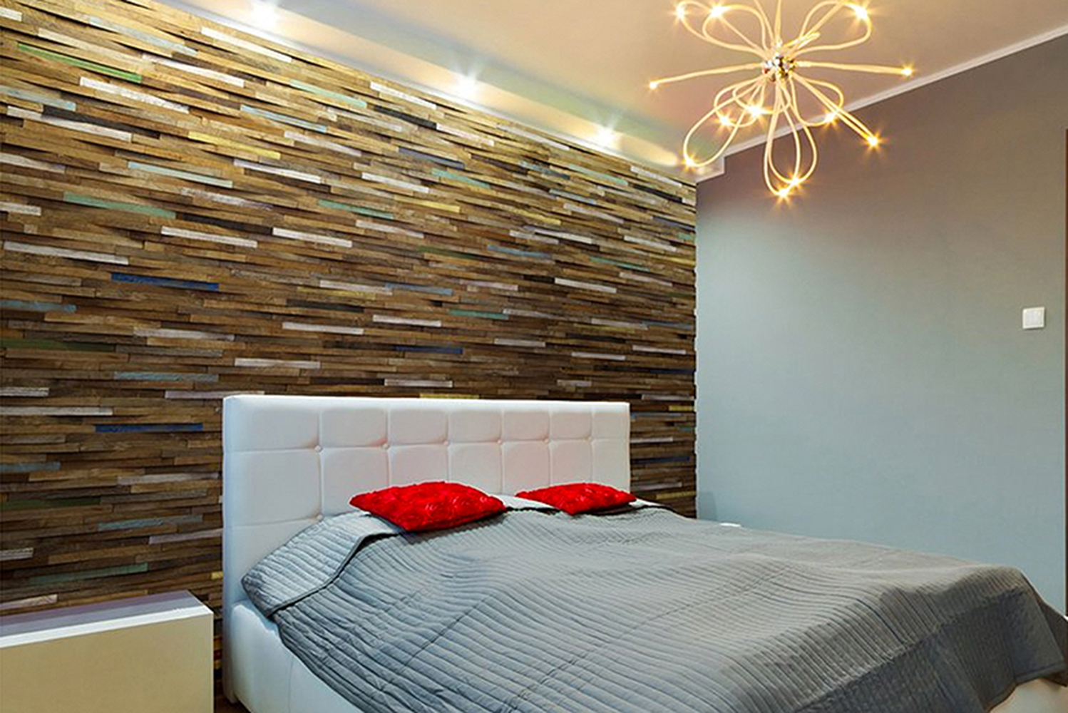 For Kayu V-wood wall cladding, the distressed teak is repurposed from timber salvaged from tropical buildings.