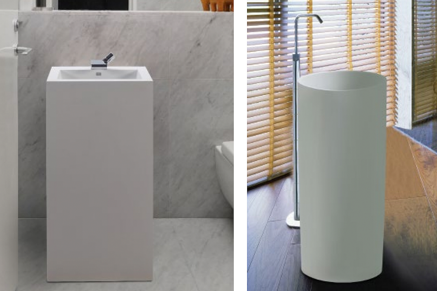 Petra and Halo pedestal sinks from MTI Baths