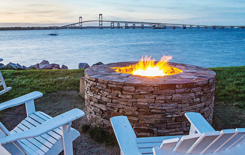 A Three Tiered Deck Has 11 Fire Pits With Views Overlooking Narragansett Bay And Pell Bridge For The Best Sunsets In Newport